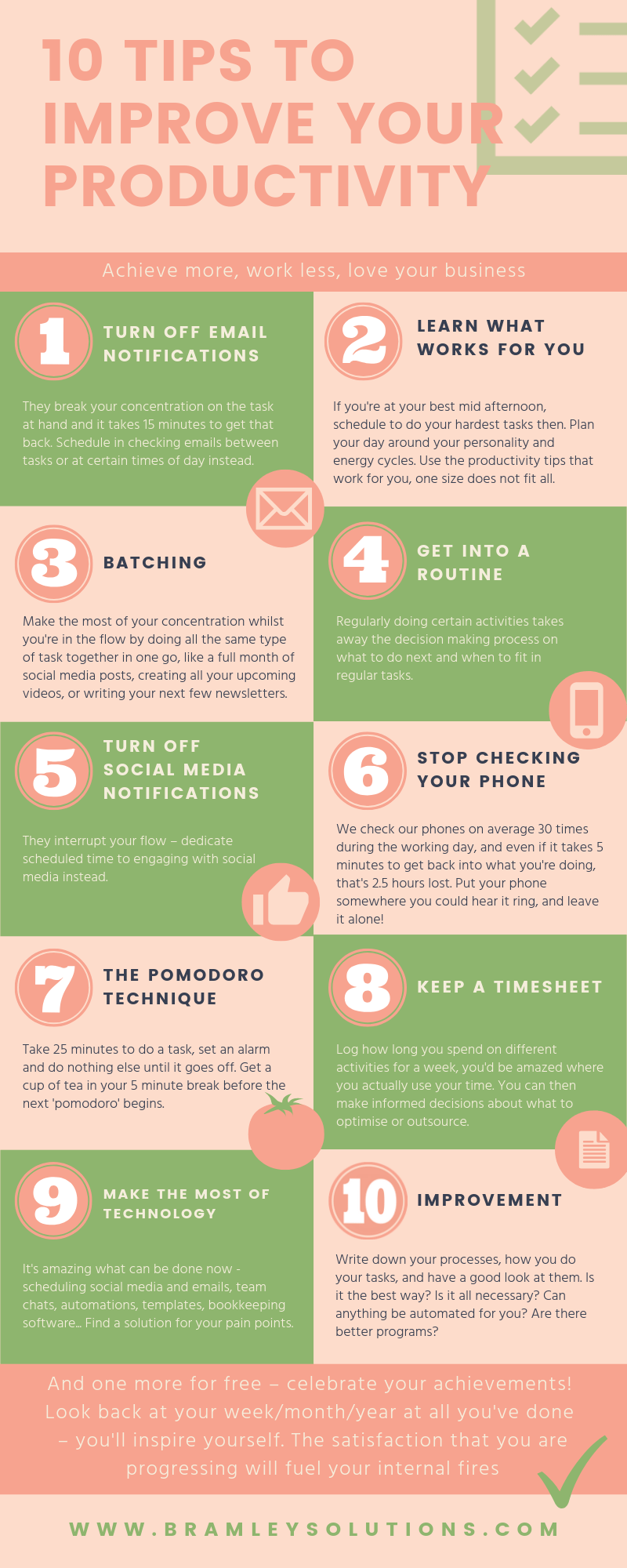 10 tips to improve productivity, infographic, turn off email notifications, batching, turn off social media notifications, stop checking your phone, the pomodoro technique, keep a timesheet, make the most of technology, process improvement